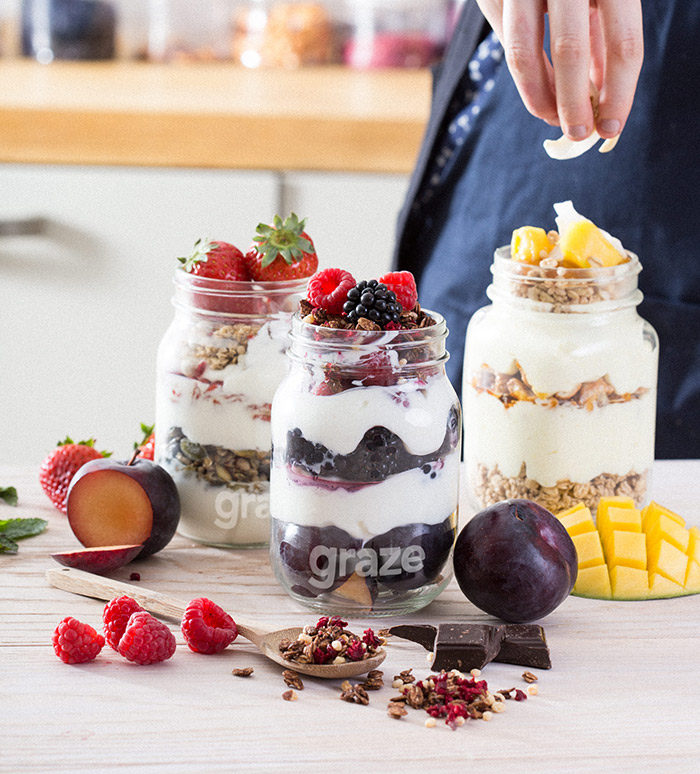 Three protein toppers with fresh fruit