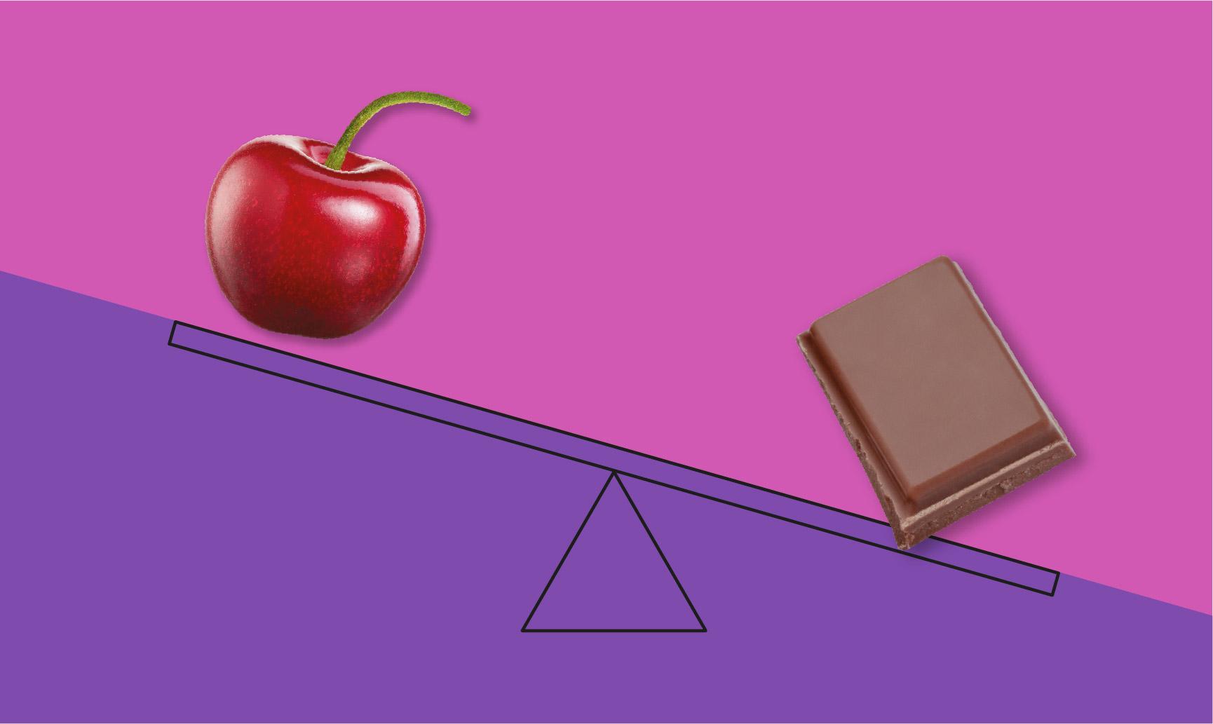 balancing cherry and chocolate illustration
